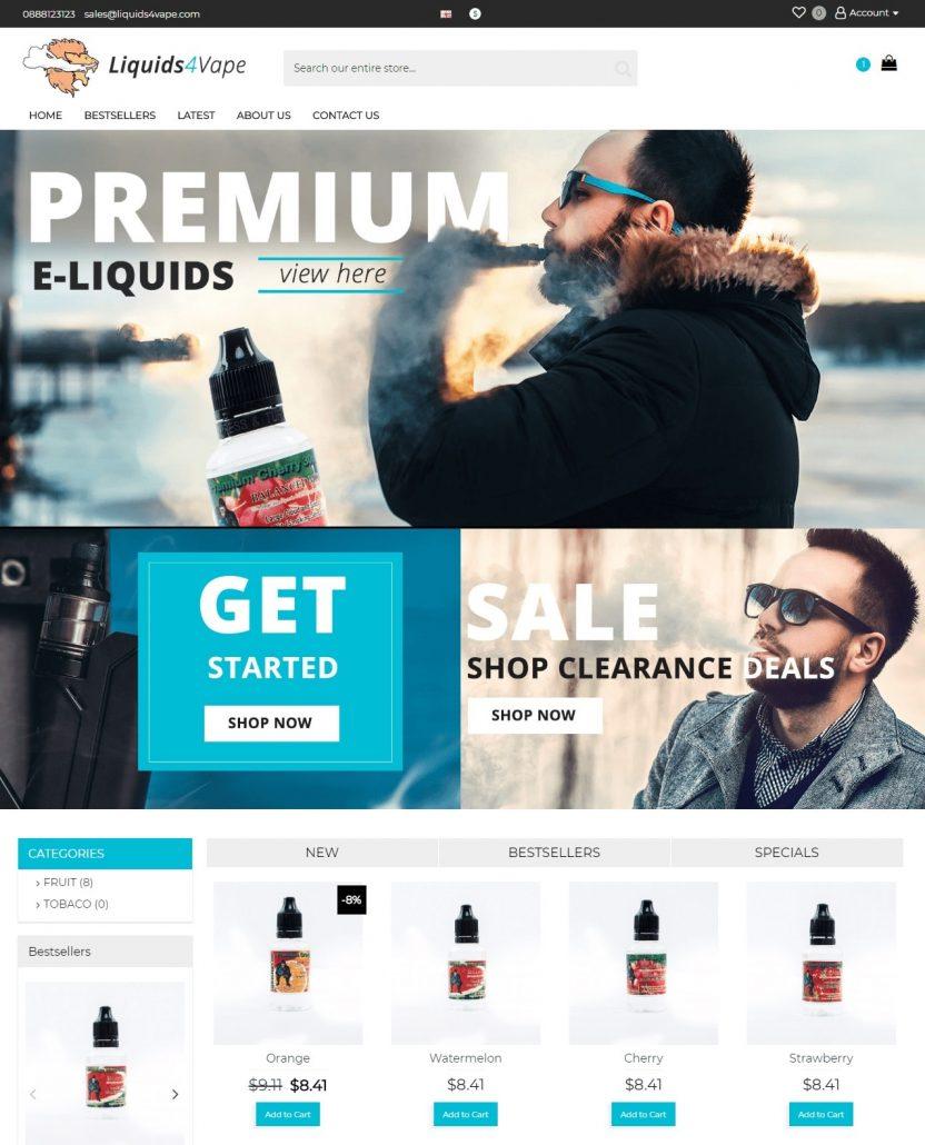 Дизайн на онлайн магазин за течности за ел. цигари