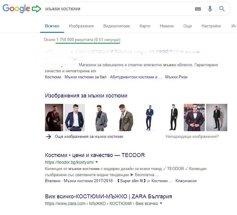 Сео оптимизация за сайт - мъжки костюми