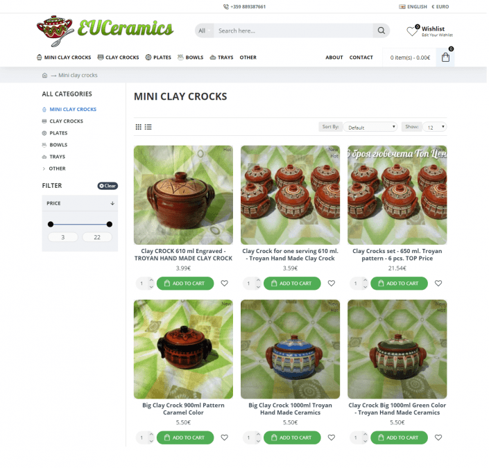Online store for Traditional Trojan ceramics - EUCeramics.com